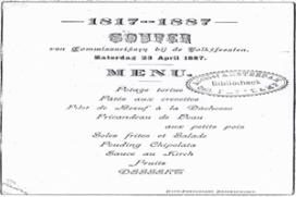 NH Krasnapolsky serveert menu uit 1887