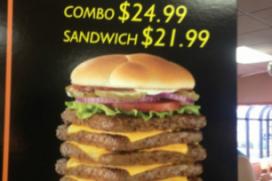 Gigantische Wendy's 'T-Rex'-burger van menu