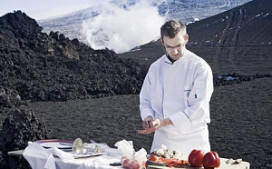 Exclusief restaurant op actieve IJslandse vulkaan
