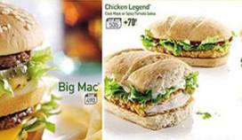 Britse McDonald's meldt calorieën op menuborden