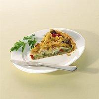 Hartige taart met tilapia en ratatouille