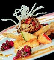 Gebakken krabkoekjes op tempuragroente met tomaten-krabvinaigrette