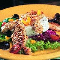 Salade met geitenkaas en cashewkip