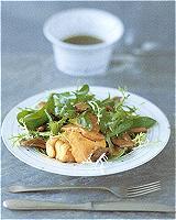 Salade van kalfswang en gebakken ganzenlever met Pedro-Ximenez-vinaigrette