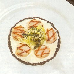 Gegrilde jacobsmosselen met aardappelvinaigrette (Frans)