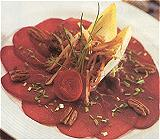Kleine kaart gerechten/broodgerechten met rundvlees