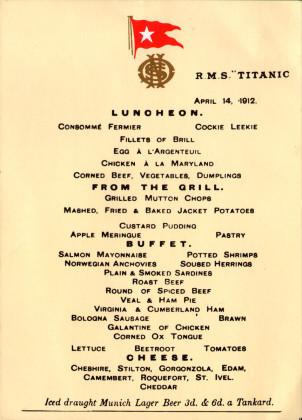 Titanic menu card 302x420
