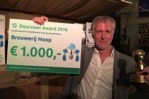Brouwerij Hoop wint 'Duurzaan Award 2016'