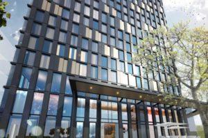 De gevel van het QO Hotel in Amsterdam